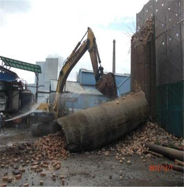 海口市大口径烟囱拆除施工工程@周边施工